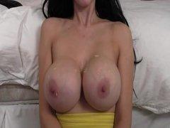 Fat uncut cock cums on big beautiful pair of tits