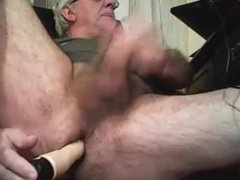 grandpa play with a toy and cum on cam