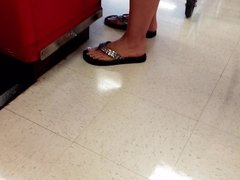 Thong sandals  on milf