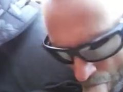Guy blows me in the car spills the cum and licks it up