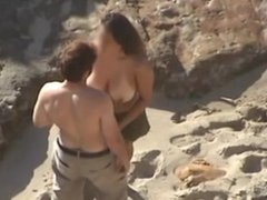 Spying Hot Couple Strip & Fuck on Beach