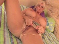 Blonde milf with giant tits takes a dildo up