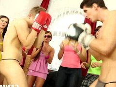 Teens fuck two boxers for cum
