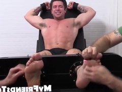 Trenton gets cock pits and feet tickled