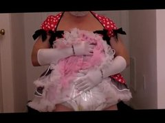 diapered sissybaby in pretty red dress