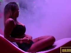Striptease girl from public on stage