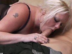 Blonde bbw in lingerie seduces garden-worker