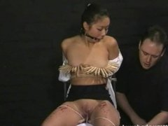 Asian bdsm of slave Tigerr Benson in oriental bondage and extreme pain