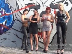 Humilation von 4 Dominas Spitting Jerk Off Instruction Wichsanleitung