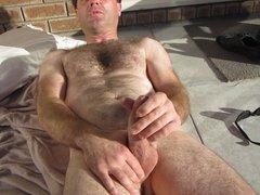 Wife films husband outdoors cumshot