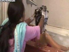 Indian hair wash in bathtub