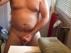 Husband strokes his big hot cock