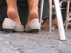 Sheer Hosed Feet Shaking After Business 1