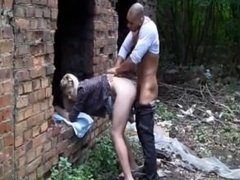 Young girl blondie and black boy