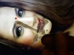 huge load on Amisha Patel slutty face