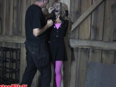 Humiliated sub throated while restrained