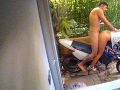 Against the motorcycle, Doggystyle so wet, hard wor Scorpion Tuga Sasha Sp