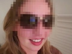 Wife swallow cum from husband on vacation in villa sunglasses