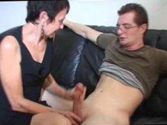 Mum Marie Strokes His Big Cock to Cum