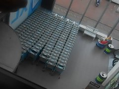 parkinggarage window at supermarket