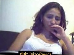 Amateur posing her gigantic tits within the webcam on CamSocial.club