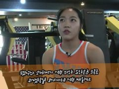 Korean Muscle girl showing some exercise mini interview