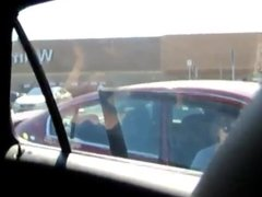 Amateur hubby films wife in parking lot