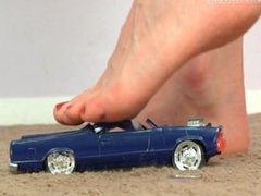 Hot barefoot giantess crushes a pick up!