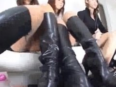 Slave worshiping Asian girls boot smell