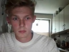 Danish Twink Blond Boy In The Kitchen & Cam-4 Show With White Blouse 3