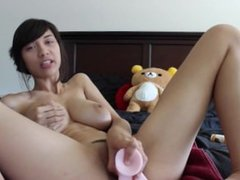 Sexy Girl Dildos Her Tight Asshole & Pussy