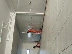 spy boy on shower