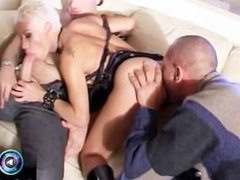 Pissing Mary getting down and dirty with two fat cocks