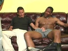 Black men sharing the ass of a guy