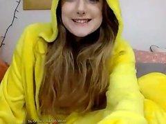 Blonde girl fucking on livecam