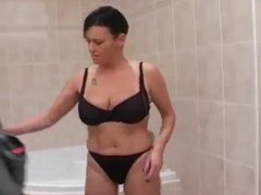 Milf washes big tits in the shower