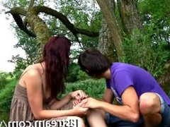 Special foreplay in the green grass