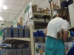 DW Hot blonde wife in a blue dress