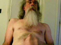 Hairy bearded silver daddy bear cumming hard
