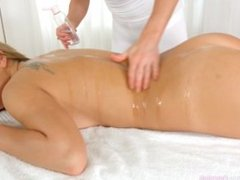Ally Breelsen and Lydia Lust massage and hot lesbian sex on Sapphic Erotica