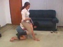 Amazon rides her ponygirl