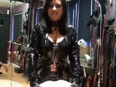 latex Mistress strapon fuck bondage slave