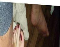 Rubbing my cock on bbw wifes feet
