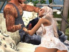 Un homme qui bande devant une tres jolie femme virtuelle en mini robe sexy