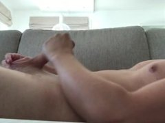 Morning pleasure on the couch with big load