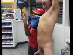 Drunk guy strips, gets hard on in public - boner, big dick