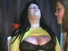 Lipstick kisses on big boobs