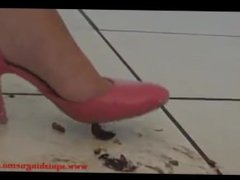 pink heels crushing roaches