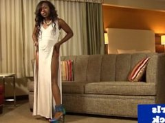 Ebony tgirl beauty busting her creamy load