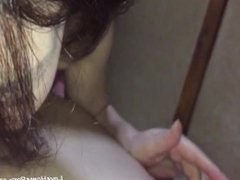 Asian makes a cock cum with a nice blowjob
